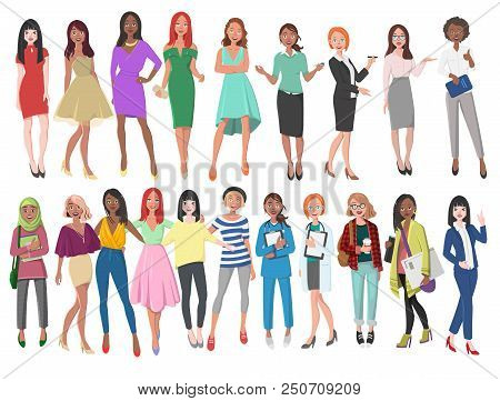 poster of Vector Illustration Of Different Women In Dresses, Suits, Etc. Girls With Long Hair In Casual Clothe