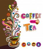 picture of coffee cups  - Template designs of menu and business card - JPG