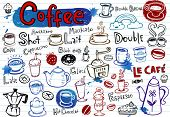 Set of Coffee doodles, vector illustration