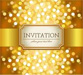 picture of wedding invitation  - Amazing golden invitation on glittering background - JPG