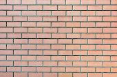 Wall Of Pale Orange Bricks. Blank Background With Masonry Texture. poster