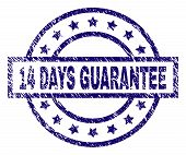 14 Days Guarantee Stamp Seal Watermark With Distress Texture. Designed With Rectangle, Circles And S poster
