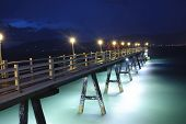 stock photo of lamp post  - Beauty romantic pier on Patong Beach on Phuket - JPG