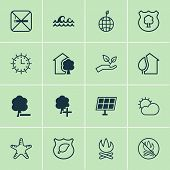 Ecology Icons Set With Starfish, No Smoking, Protect Ecology And Other Home Elements. Isolated Vecto poster