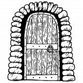 Wooden Door. Vector Illustration Of A Wooden Door With An Old Lock. Hand Drawn Old Wooden Door. poster