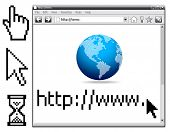Vector - Web Internet Browser, cursors... All elements are grouped in layers and easy to edit