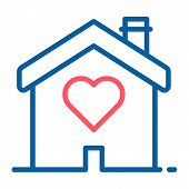 House With A Heart Shape Inside. Love Home Icon. Vector Thin Line Illustration Concept For Wedding S poster