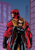 Superhero Couple Standing Back To Back On City Background. poster