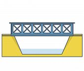 Vector Train Bridge In Side View And Isolated On White Background. Industrial 2d Transportation Buil poster