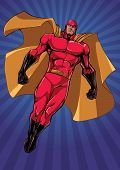 Full Length Illustration Of Powerful Superhero Looking Down While Soaring Over Abstract Background. poster