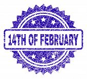 14th Of February Stamp Imprint With Scratched Style. Blue Vector Rubber Seal Print Of 14th Of Februa poster