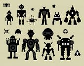 image of tin man  - vector robot set - JPG