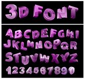 full 3d vector alphabet with numerals