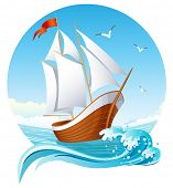 Vector illustration - sailing ship emblem