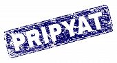 Постер, плакат: Pripyat Stamp Seal Print With Distress Style Seal Shape Is A Rounded Rectangle With Frame Blue Vec