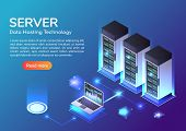 3d Isometric Web Banner Server Room And Hosting Storage Technology. Web Hosting Server And Data Cent poster