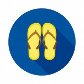 Beach Slops Icon. Flip Flops Symbol. Flip-flops Icon On Circle Background. Summer Sandals Sign. Vect poster