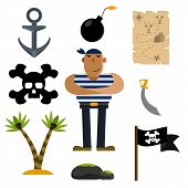 Pirate Icons, Pirate, Vector Illustration Of Icon Sets poster