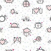 Valentines Day Icons Vector Heart In Love And Lovely Red Sign On Hearted Celebration And Greeting Ca poster