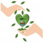 Save Earth Planet World Concept. World Environment Day Concept. Hands Holding Green Earth Globe And  poster