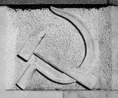 pic of hammer sickle  - Communist hammer and sickle symbol on stone - JPG