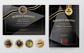 Official Black Certificate With Gold Design Elements. Emblem, Gold Text. Luxury Background. Set Of E poster