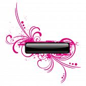 pic of budge  - glossy button with floral background - JPG