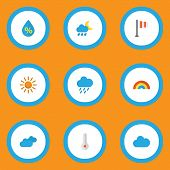 Climate Icons Flat Style Set With Sunny, Drip, Shower And Other Sun Elements. Isolated Vector Illust poster