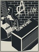 Stylized Vector Illustration Of An Electric Guitar And Guitar Amplifier On A Brick Wall With Graffit poster