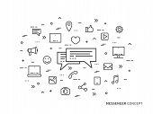 Messenger Chat Application Linear Vector Illustration. Creative Concept Messaging, Message Speech, M poster