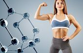 Woman With Perfect Athletic Body Near Molecule Chain. Slimming Concept. Improvement Of Metabolism Co poster