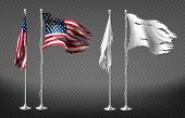Vector Realistic Set With Damaged Flags Of United States Of America On Steel Poles Isolated On Trans poster