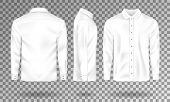 Blank Male Shirt Template. Realistic Men S Shirt With Long Sleeves Front, Side, Back View. White Cot poster