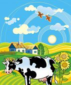 picture of moo-cow  - Summer rural landscape with cheerful cow - JPG