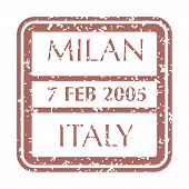 Colored Grungy Postal Stamp From Italy City Milan. Isolated Vector Illustration. poster