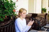 Keep In Touch. Woman Calm Face Texting Smartphone Cafe Terrace Urban Background. Lady Texting Messag poster