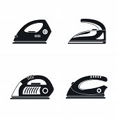 Smoothing Iron Drag Appliance Icons Set. Simple Illustration Of 4 Smoothing Iron Drag Appliance Vect poster