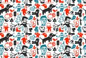Seamless funny doodles pattern. Vector illustration.