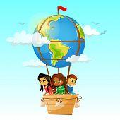 Children On Globe Hot Air Balloon Illustration. Cartoon Design Of Children Different Nationalities F poster