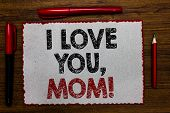 Text Sign Showing I Love You, Mom. Conceptual Photo Loving Message Emotional Feelings Affection Warm poster