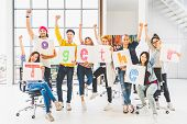 Multiethnic Diverse Group Office Coworker Or Creative People Hold Word Together, Cheer And Celebrate poster