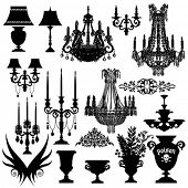 Baroque elements, vector silhouette
