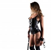 Sensual Provocation Of A Sexy Bdsm Woman In Lingerie With Whip poster