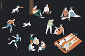 People Park Festival Picnic - Flat Vector Concept Illustration Of A Group Of People Relaxing In The  poster