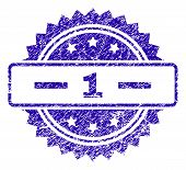 1 Stamp Imprint With Grunge Style. Blue Vector Rubber Seal Print Of 1 Tag With Grunge Texture. poster