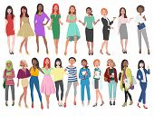 Vector Illustration Of Different Women In Dresses, Suits, Etc. Girls With Long Hair In Casual Clothe poster