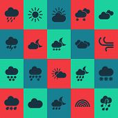 Weather Icons Set With Cloud, Sunshine, Weather And Other Sun Elements. Isolated  Illustration Weath poster