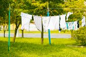 Clothes Drying In Fresh Air On Clothes Lines. Way Of Life poster