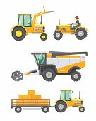 Agricultural Machinery And Farm Vehicle Vector Set. Tractors, Harvester, Combine Illustration In Fla poster