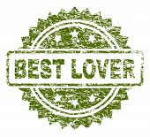Best Lover Stamp Seal Watermark With Dirty Style. Green Vector Rubber Print Of Best Lover Caption Wi poster